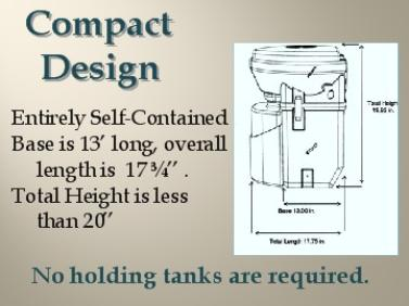 Self Contained Compact Design requires No Holding Tanks